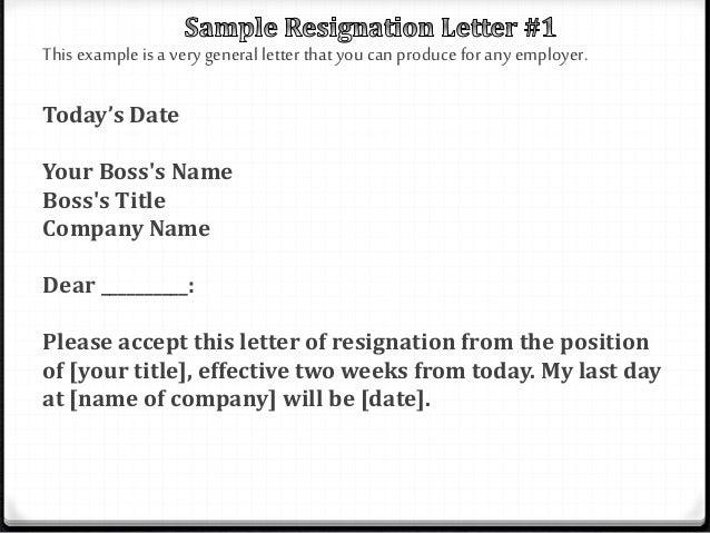 Resignation letter (powerpoint)