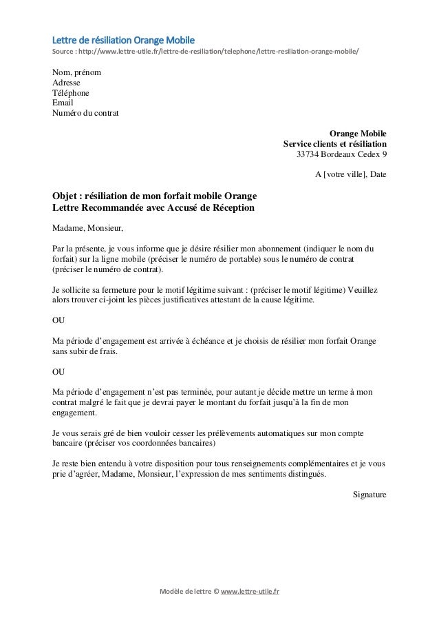 modele lettre resiliation orange mobile document online. Black Bedroom Furniture Sets. Home Design Ideas