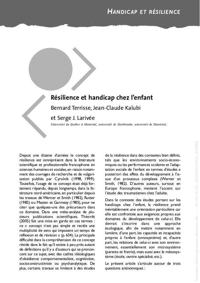 Depuis une dizaine d'années le concept de résilience est omniprésent dans la littérature scientifique et professionnelle f...