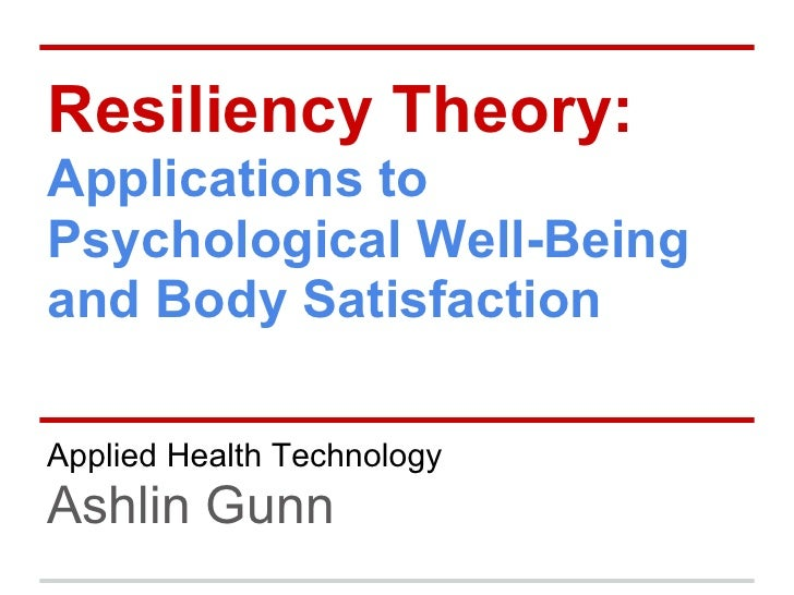 Resiliency Theory:Applications toPsychological Well-Beingand Body SatisfactionApplied Health TechnologyAshlin Gunn