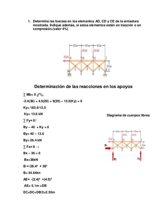 1. Determine las fuerzas en los elementos AD, CD y CE de la armadura mostrada. Indique además, si estos elementos están en...
