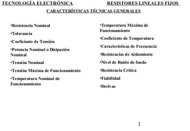 TECNOLOGÍA ELECTRÓNICA                     RESISTORES LINEALES FIJOS                     CARACTERÍSTICAS TÉCNICAS GENERALE...