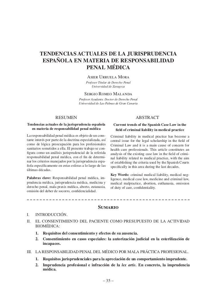 tendencias actuales de la jurisprudencia            española en materia de responsaBilidad                         penal m...