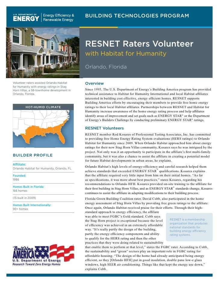 BUILDING TECHNOLOGIES PROGRAM                                                 RESNET Raters Volunteer                     ...