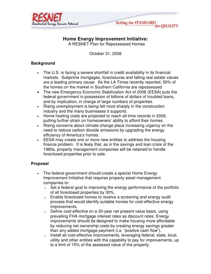 Home Energy Improvement Initiative:                    A RESNET Plan for Repossessed Homes                                ...