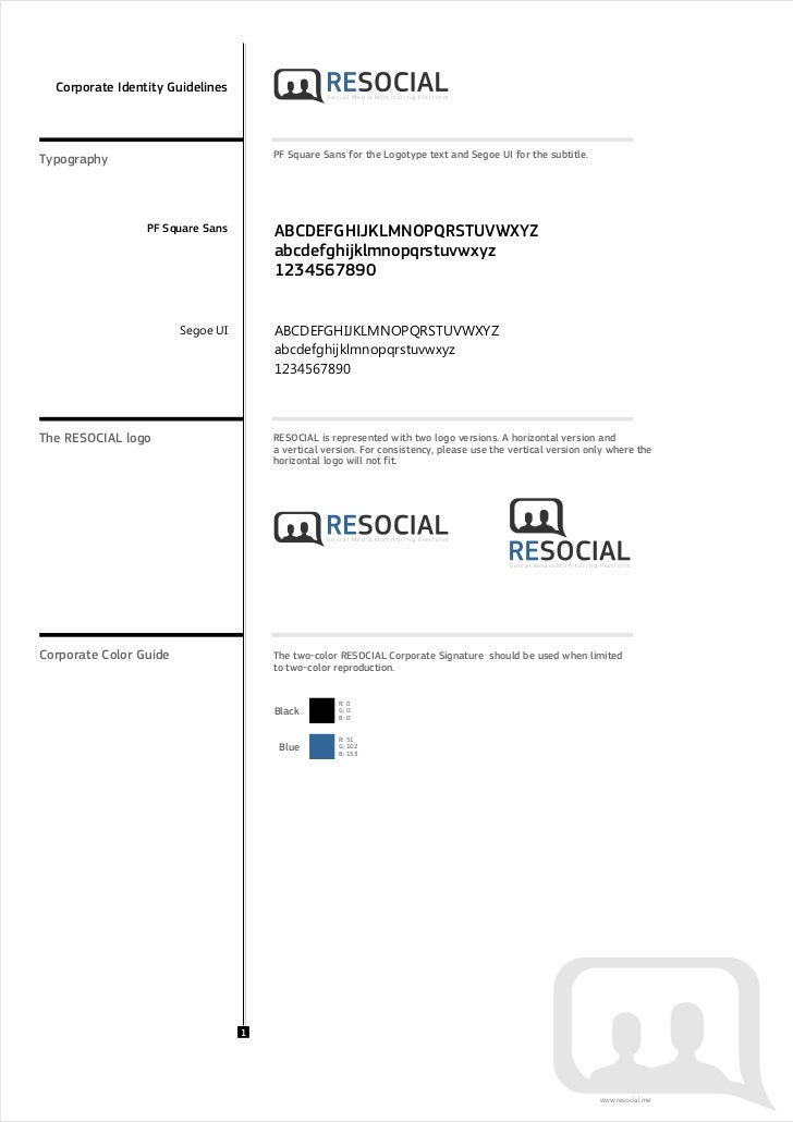 Corporate Identity Guidelines                   Social Media Monitoring PlatformTypography                             PF ...