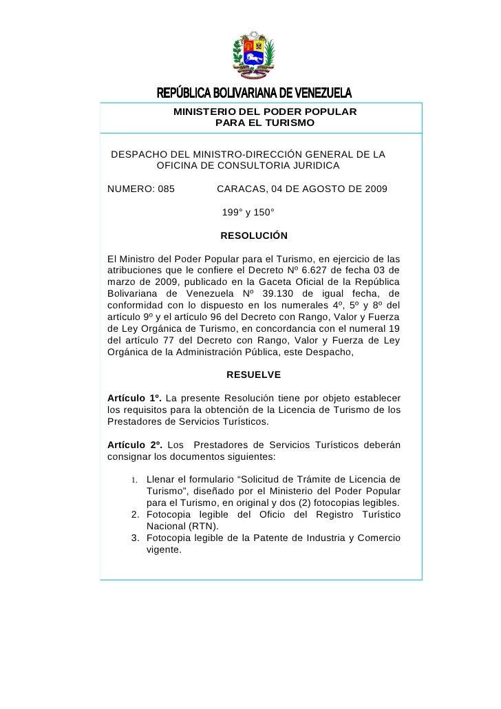 MINISTERIO DEL PODER POPULAR                      PARA EL TURISMO   DESPACHO DEL MINISTRO-DIRECCIÓN GENERAL DE LA        O...