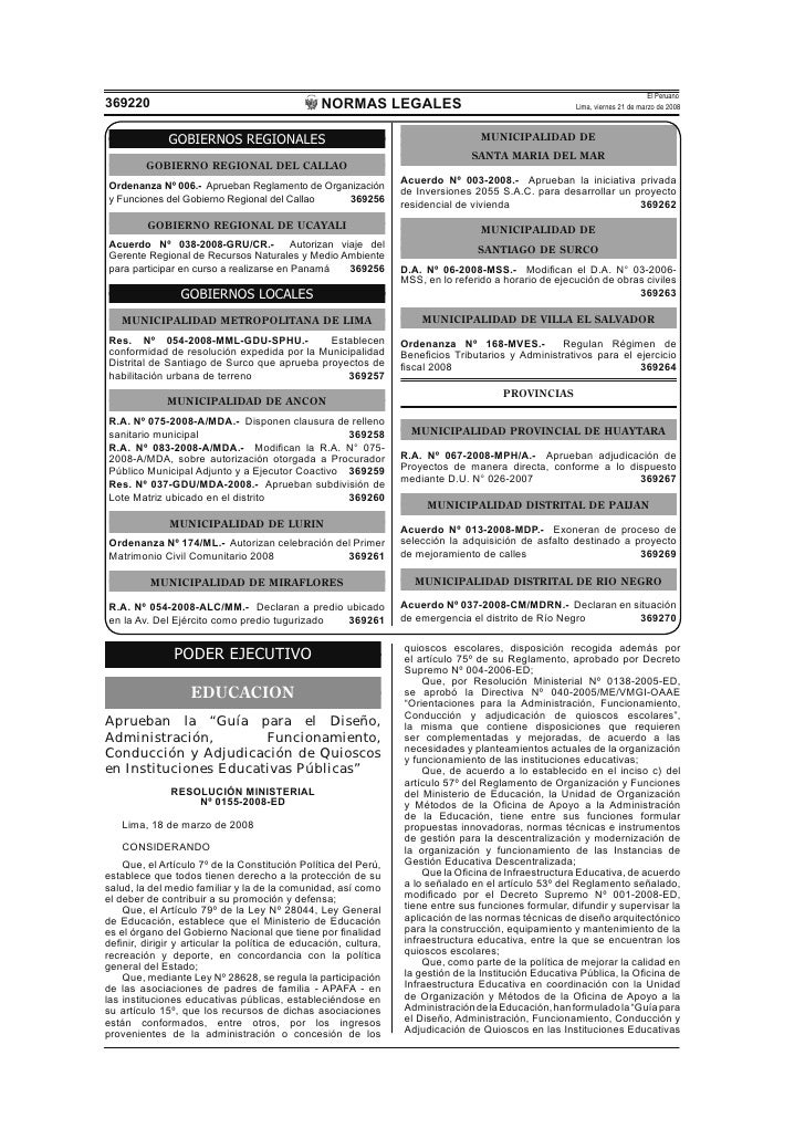 El Peruano                                                 NORMAS LEGALES 369220                                          ...