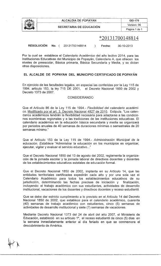 Resolución calendario escolar 2014