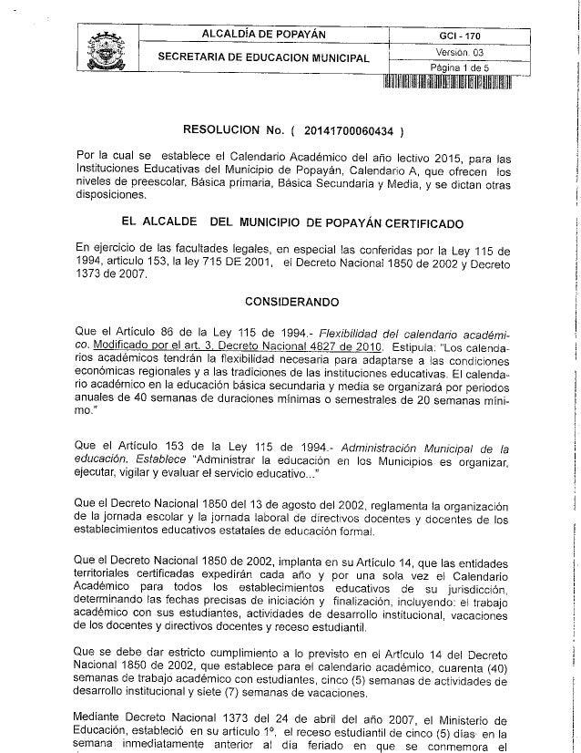 """ALCALDÍA DE POPAYÁN _j Gci - 17o  Versión.  03 Página 1 de 5  lillllllllllllllllllllllll:    villlllllllllllï""""            ..."""