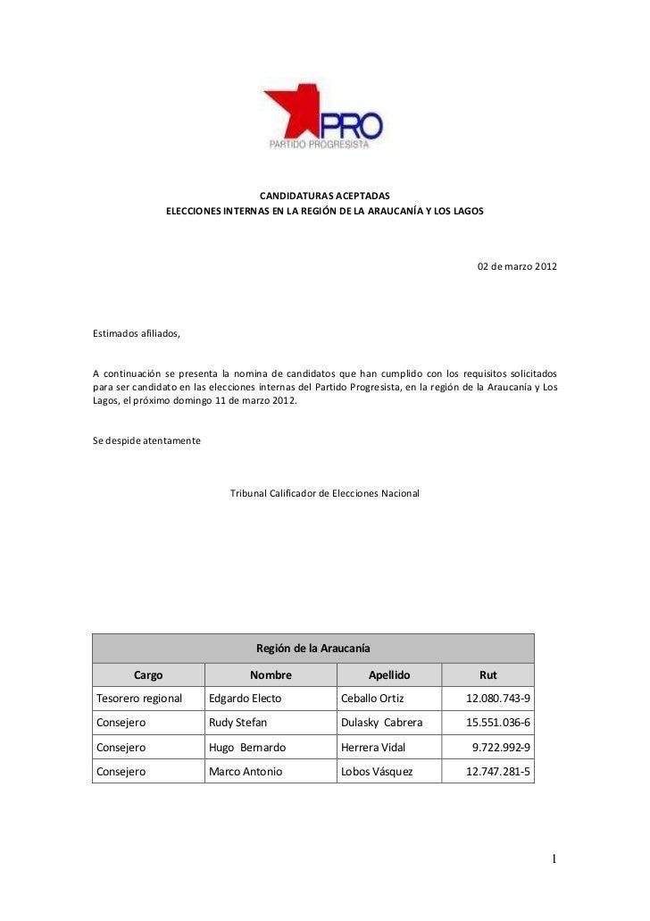 CANDIDATURAS ACEPTADAS                 ELECCIONES INTERNAS EN LA REGIÓN DE LA ARAUCANÍA Y LOS LAGOS                       ...