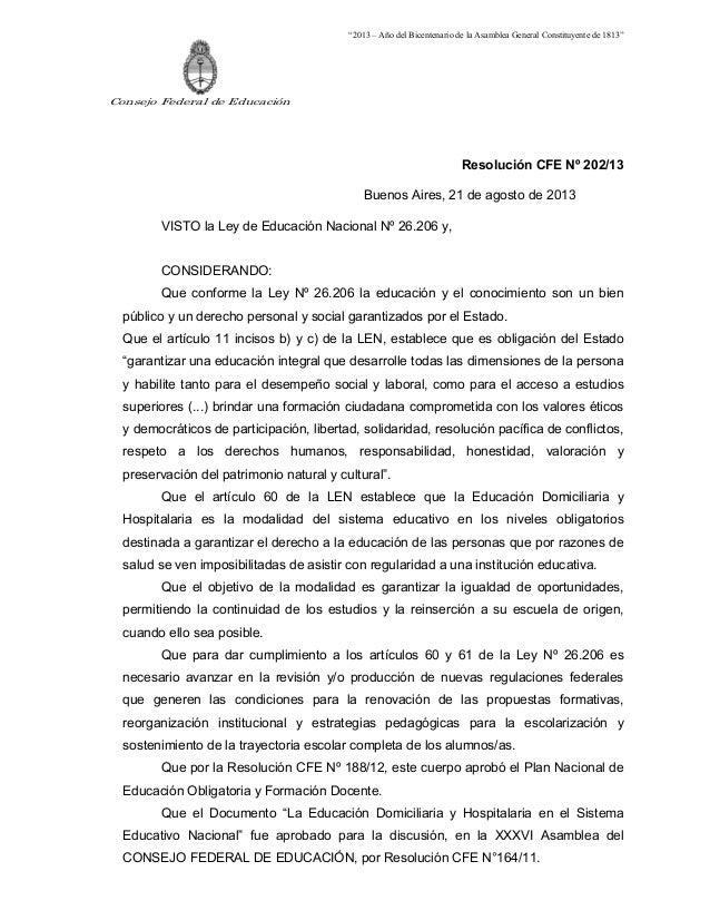 Resolución CFE Nº 202/13.LA EDUCACIÓN DOMICILIARIA Y HOSPITALARIA