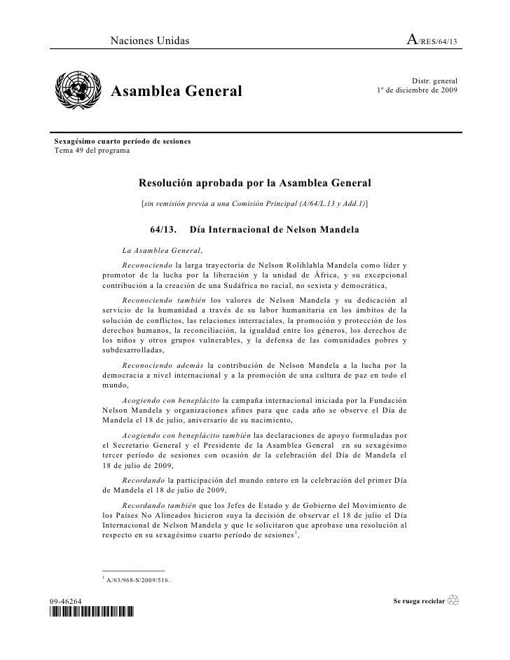 Naciones Unidas                                                                         A/RES/64/13                       ...
