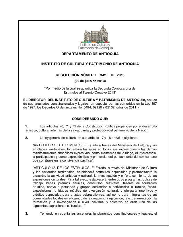 Resolución de adjudicación segunda convocatoria de estímulos 2013