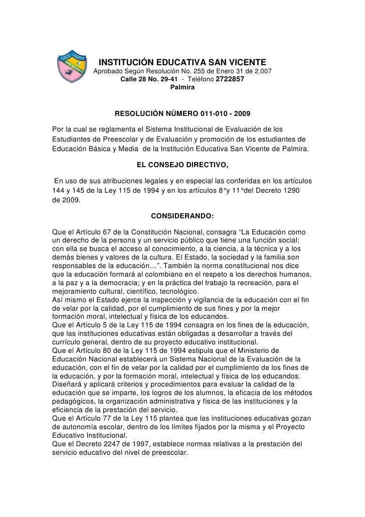 INSTITUCIÓN EDUCATIVA SAN VICENTE             Aprobado Según Resolución No. 255 de Enero 31 de 2.007                    Ca...