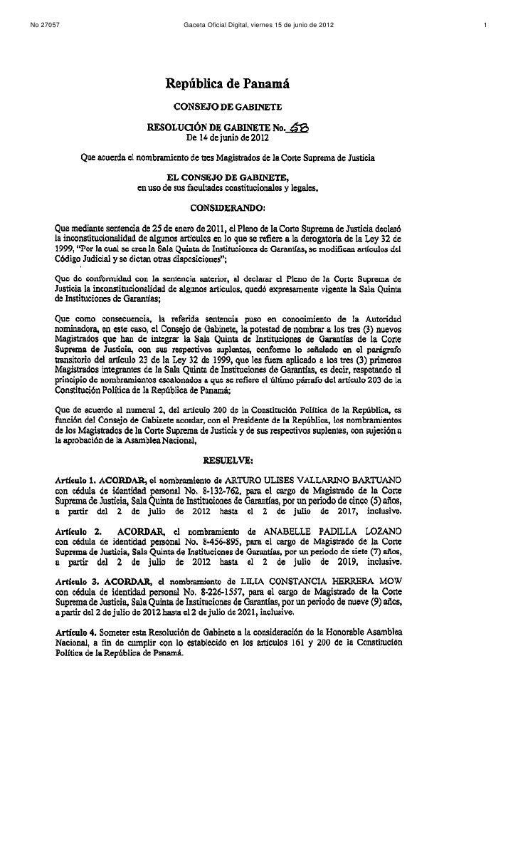 Resolución de Gabinete N° 58 (de 14 de junio de 2012)