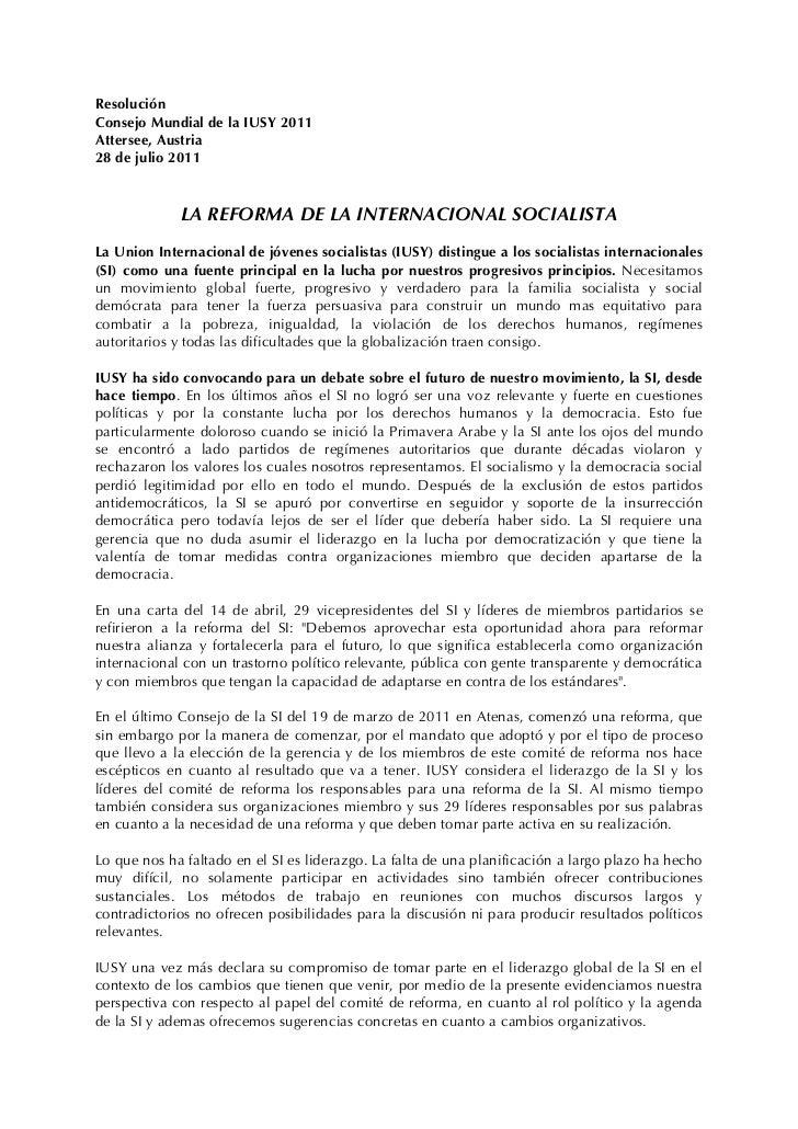 Resolución de iusy sobre la reforma de la internacional socialista   consejo mundial 2011