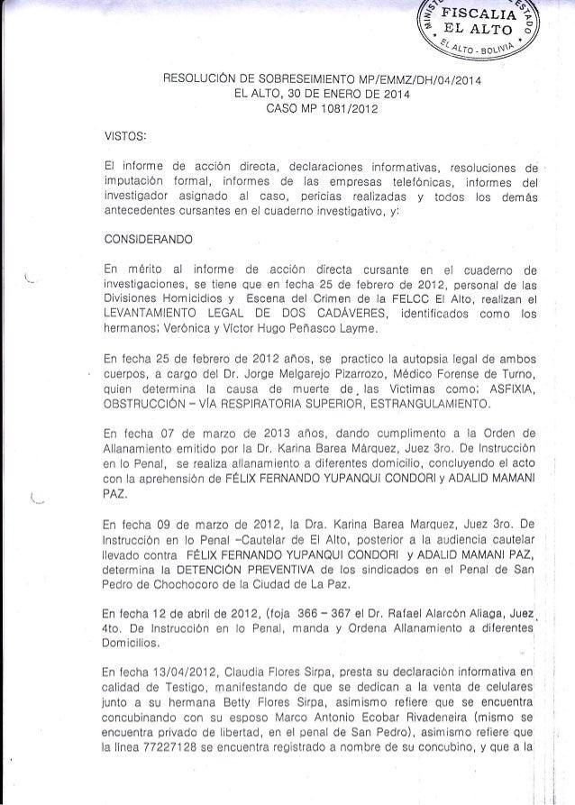 """({pts""""o""""roS  I  V. EL /rLTo -rro  RESoLUCIÓru  S,  .eou*/  or  SoBRESEIMIENTo MP IEMMZ/DHI04/201 4 ELALTQ,30 DE ENERO DE2O..."""