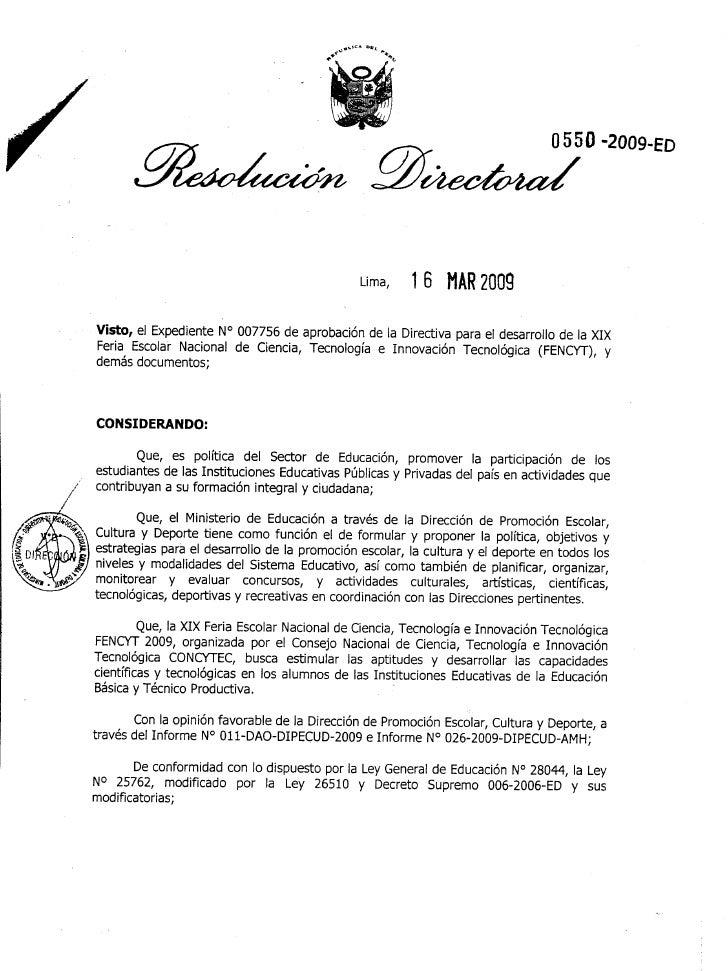 ResolucióN Directoral 0550 2009 Ed. Fencyt 2009
