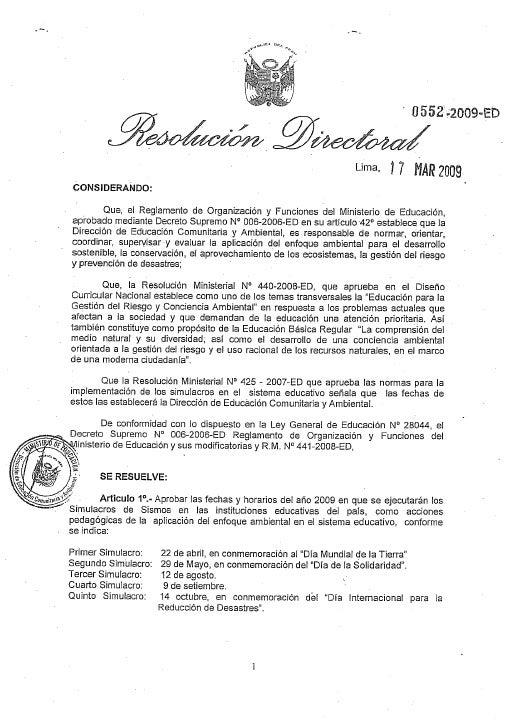 ResolucióN Directoral 0552 2009   Ed.