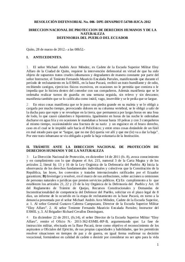 RESOLUCIÓN DEFENSORIAL No. 006- DPE-DINAPROT-54708-HJCA-2012 DIRECCION NACIONAL DE PROTECCION DE DERECHOS HUMANOS Y DE LA ...