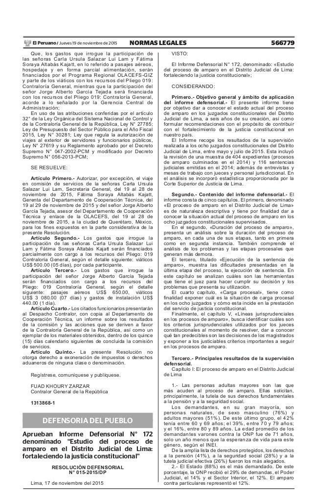 566779NORMAS LEGALESJueves 19 de noviembre de 2015El Peruano / Que, los gastos que irrogue la participación de las señoras...