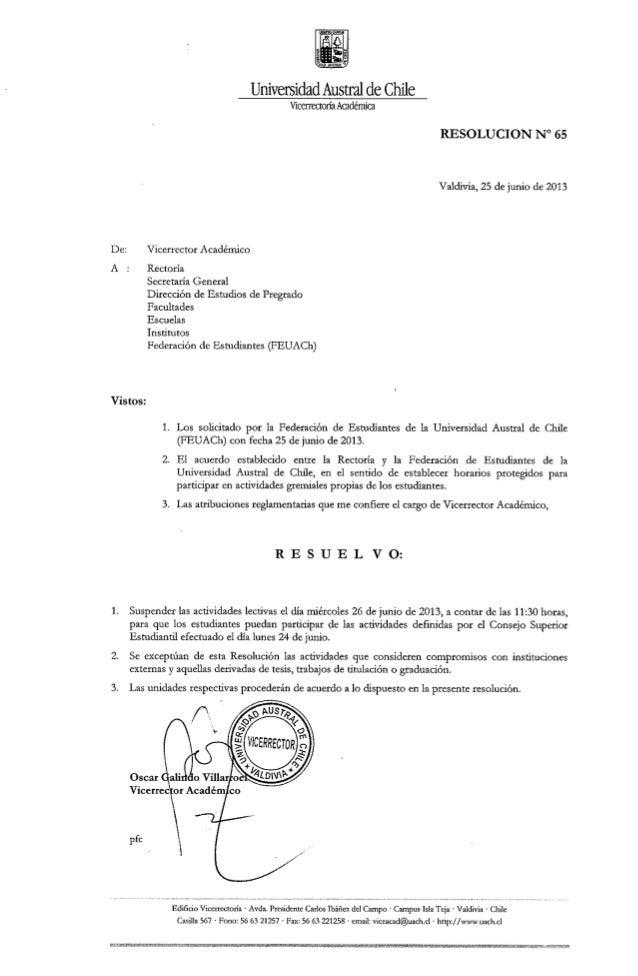 Resolución nº65 suspende actividades lectivas 26 de junio