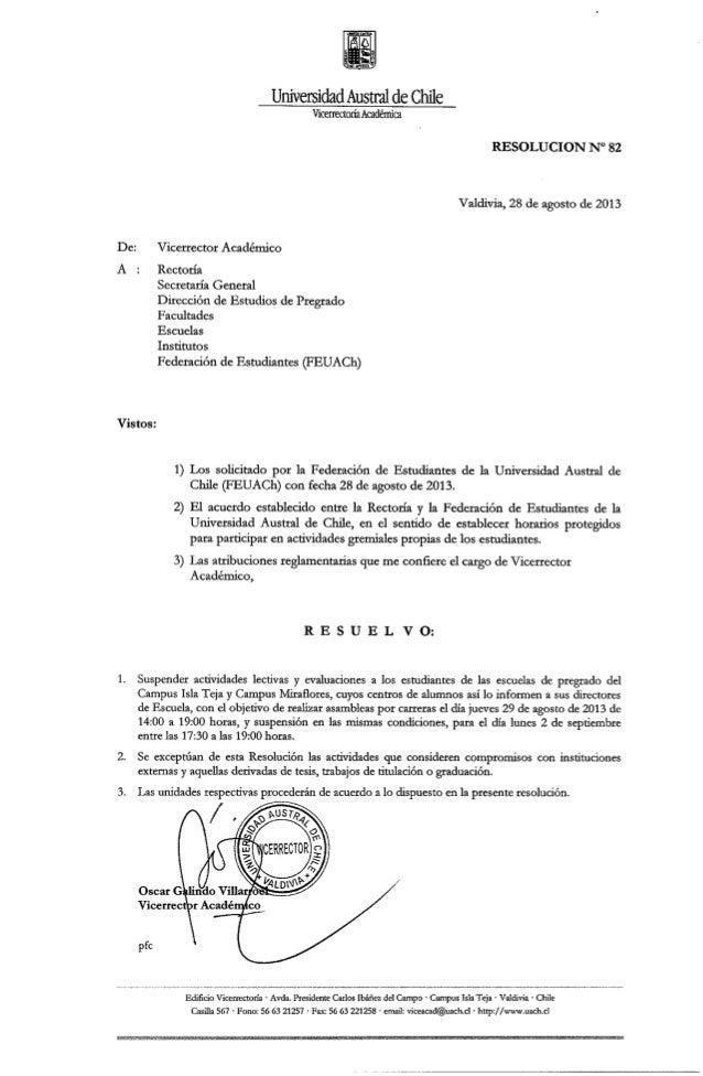Resolución nº82 suspende actividades académicas