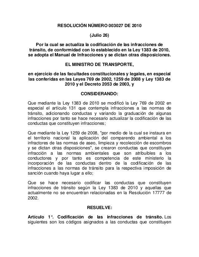 Resolución número 003027 de 2010