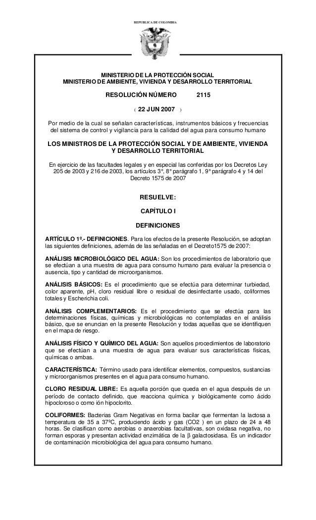 Resolución número 2115 del 22 junio 2007