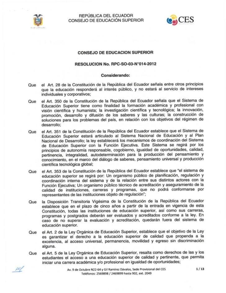 Resolución no. rpc so-03-no.014-2012