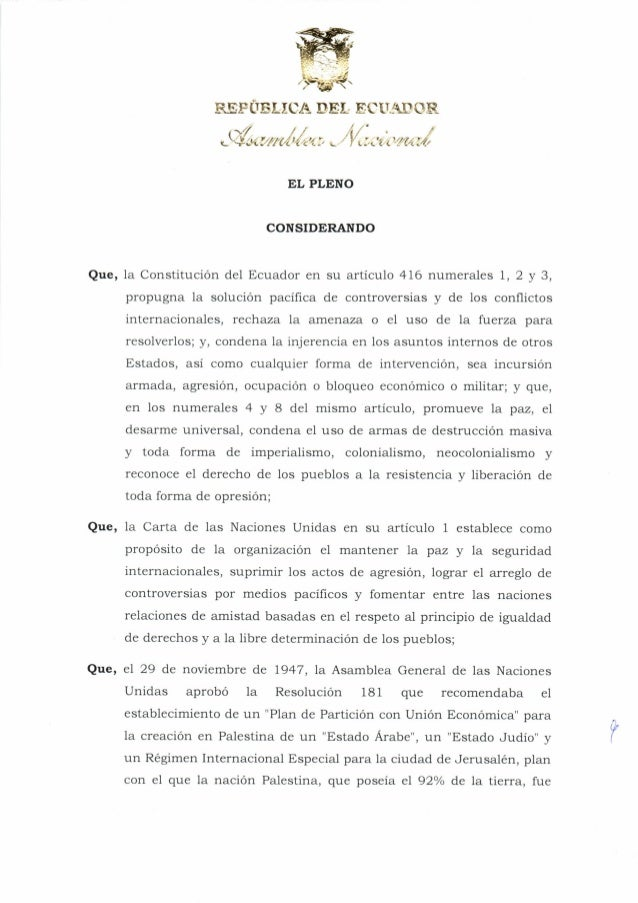 Resolución de la Asamblea Nacional del Ecuador que condena los ataques del ejército de Israel contra la población civil de...