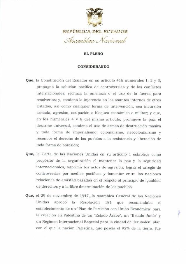 Resolución de la Asamblea Nacional del Ecuador que condena los ataques del ejército de Israel contra la población civil de Palestina.