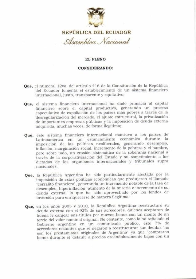 Resolución que repudia la decisión judicial que obliga a la república argentina al pago de 1.330 millones de dólares a favor de fondos de inversión especulativos (08 07-2014)
