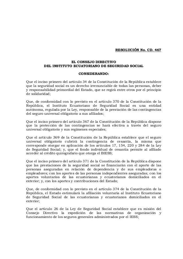 Resolución Sustitutiva C.D. 464
