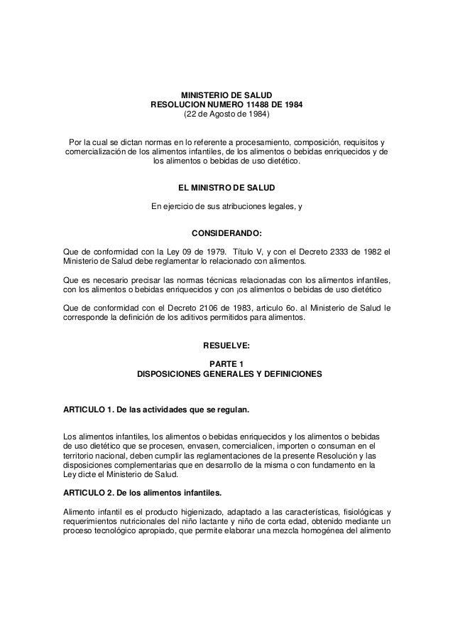 MINISTERIO DE SALUD                        RESOLUCION NUMERO 11488 DE 1984                              (22 de Agosto de 1...