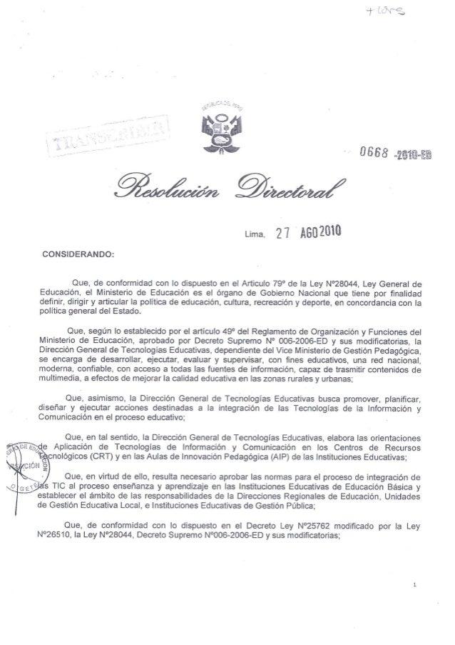 Directiva  N° 040-2010 DIGETE: NORMAS DE APLICACIÓN DE LAS TIC