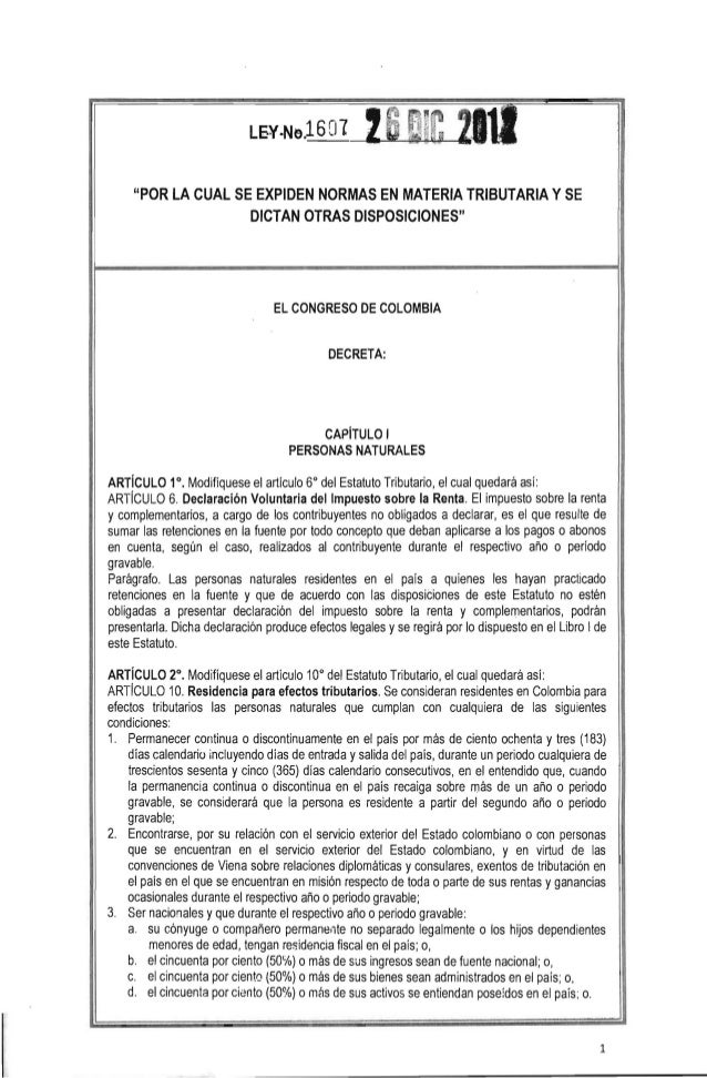 Resolucion 1607-12 reforma tributaria