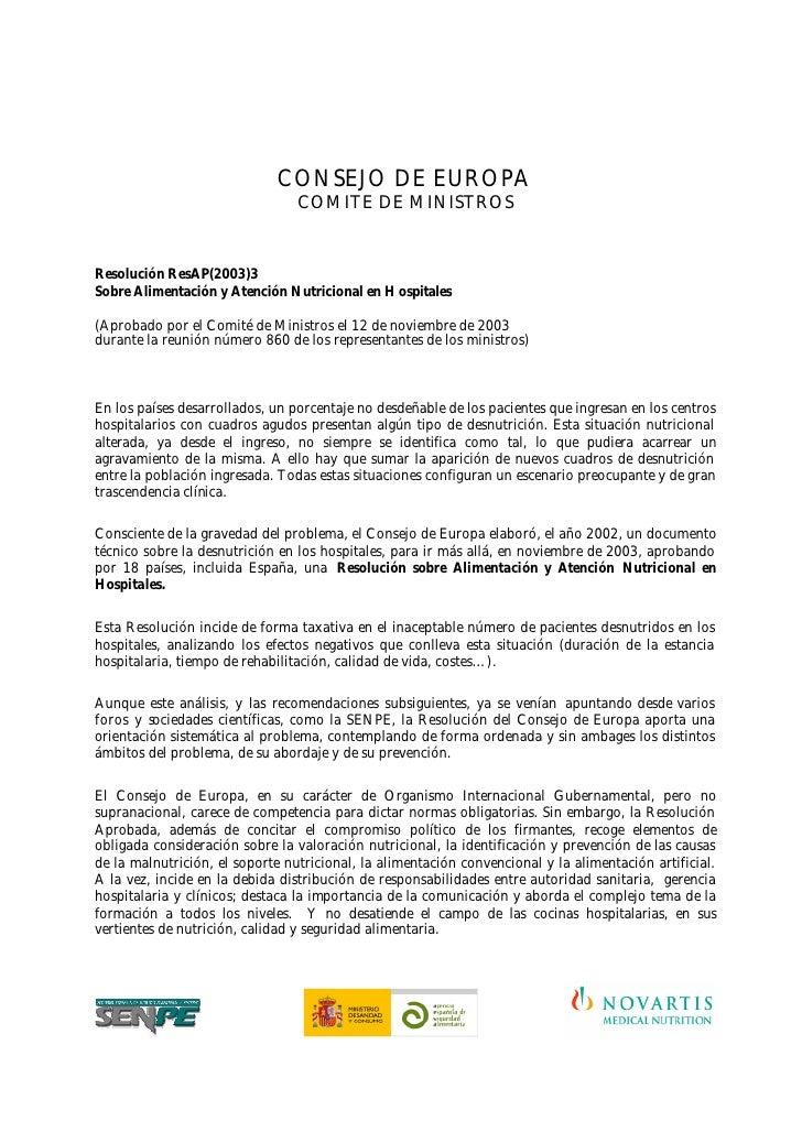 CONSEJO DE EUROPA                                  COMITE DE MINISTROS   Resolución ResAP(2003)3 Sobre Alimentación y Aten...