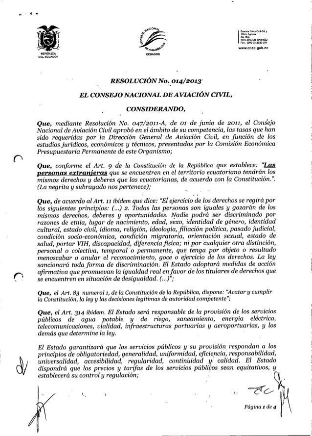 Resolución Nro 14/2013 de el Consejo Nacional de Aviación Civil