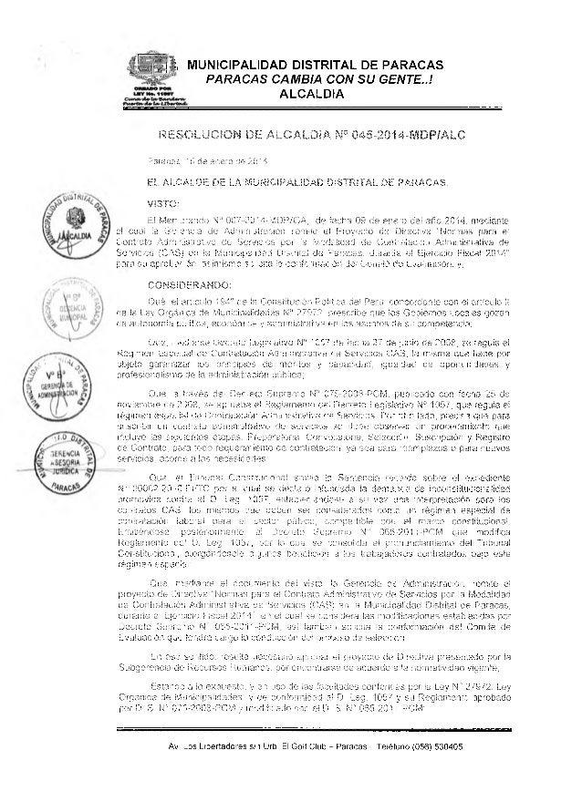 i MUNICIPALIDAD DISTRITAL DE PARACAS PARACAS CAMBIA CON SU GENTE..! ALCALDIA RESOLUCION DE ALCALDIA N° 045-2014-MDP/ALC Pa...