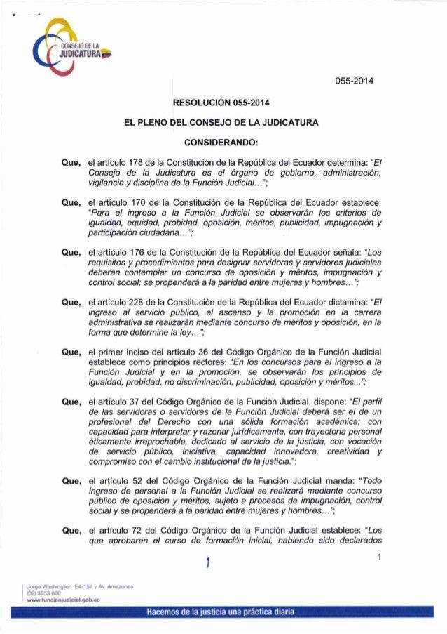 Resolución Nro 055 2014 del Consejo de la Judicatura mediante la cual resuelve nombrar jueces en las provincias de Galápagos y Morona Santiago