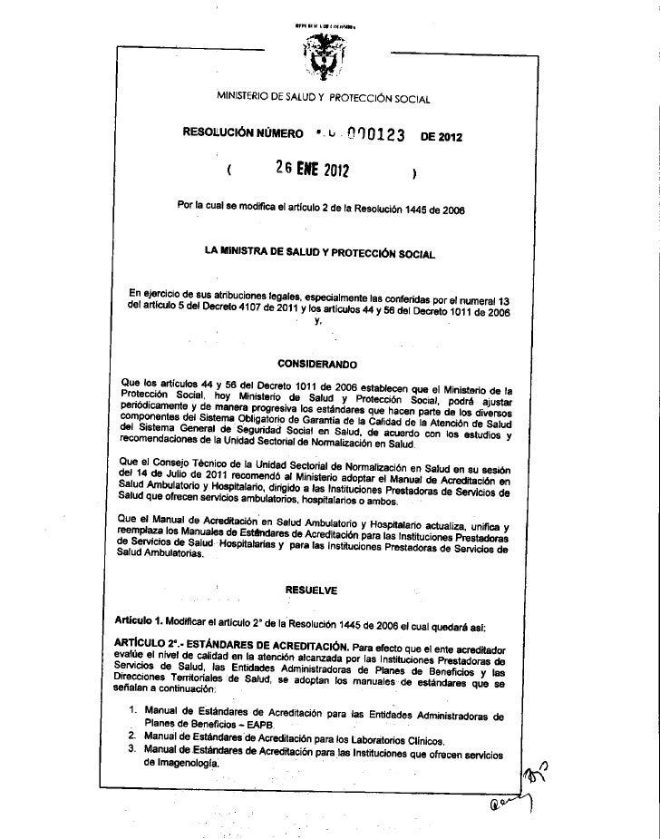 Resolucion 123 de 26 de enero de 2012 acreditación