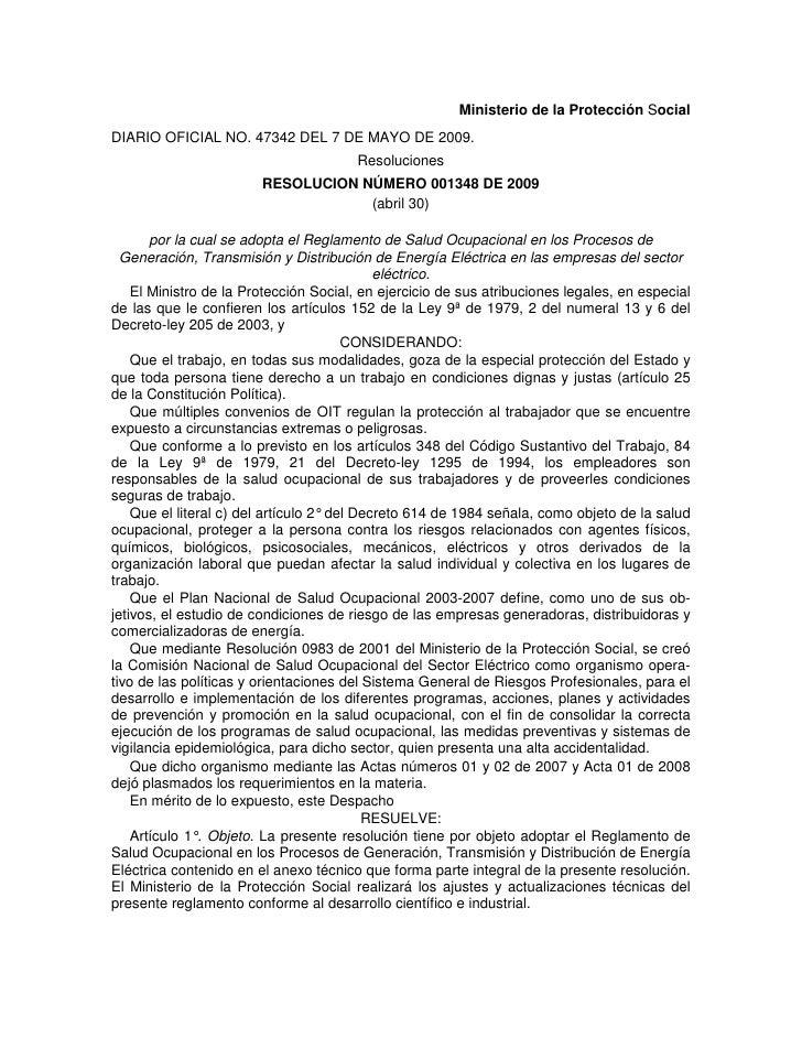 Ministerio de la Protección Social DIARIO OFICIAL NO. 47342 DEL 7 DE MAYO DE 2009.                                        ...