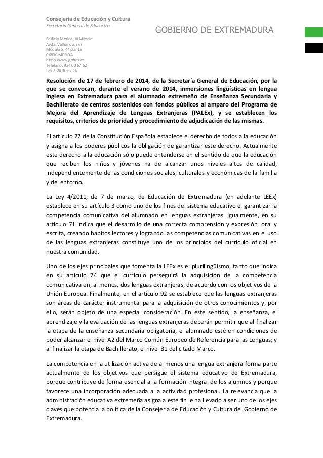 Consejería de Educación y Cultura Secretaría General de Educación  GOBIERNO DE EXTREMADURA  Edificio Mérida, III Milenio A...