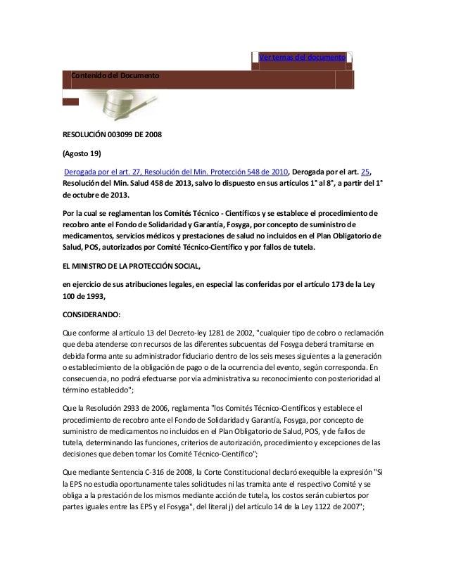 Resolucion 3099 de 2008 ctc