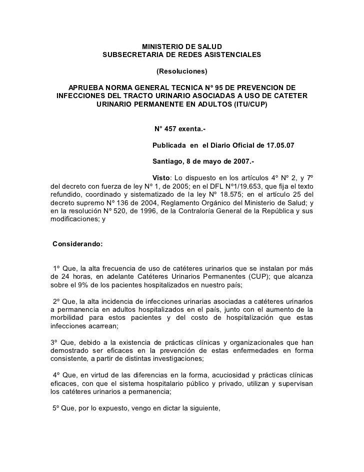 MINISTERIO DE SALUD                SUBSECRETARIA DE REDES ASISTENCIALES                                 (Resoluciones)    ...