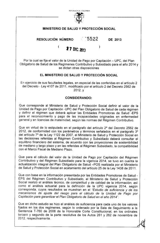 Resolucion 5522 de 2013   valor de la upc 2014