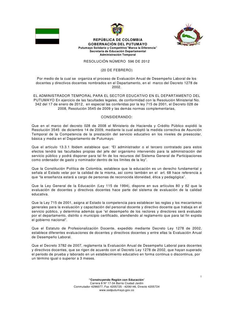 Resolucion 596   cronograma evaluacion anual de desempeño 2012