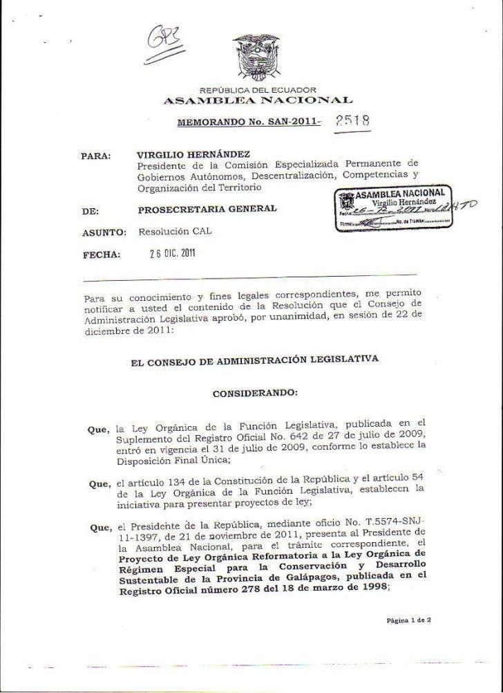 Resolución de Consejo de Administracion Legislativa de la Asamblea Nacional